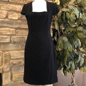Ann Taylor sheath dress cap sleeves square neck 8